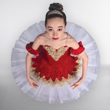 1st Position Prestige Ruby Red Gold Trimmed Ballet Bodice with Matching Skirt Over Layer