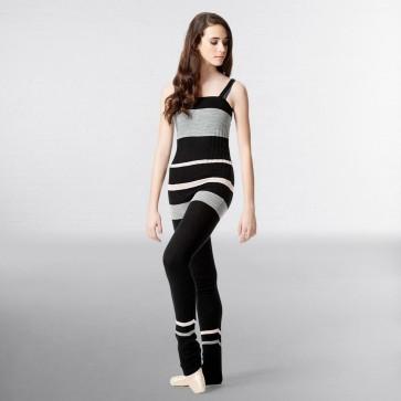 Lulli Striped Knitted Warm Up Camisole Unitard