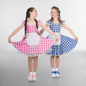 Cutie Checked Lace Trimmed Dress with Apron