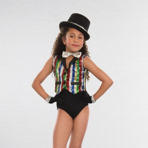 1st Position sequin multi stripe waist coat