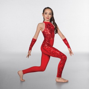 1st Position Flame Sequin Keyhole Backed Catsuit