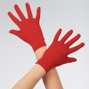 Childs Short Satin Gloves Red