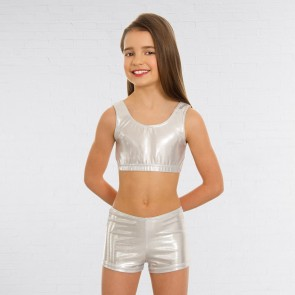 1st Position Metallic Hot Pants Silver