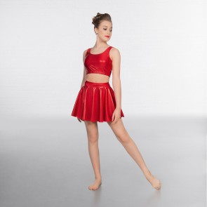 1st Position Metallic Circular Skirt Red