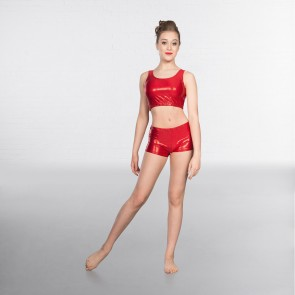 1st Position Metallic Hot Pants Red