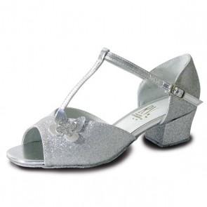 Roch Valley Carrie Childrens Ballroom Glitter Shoe with AT-Bar Strap Butterfly Motif Cuban Heel
