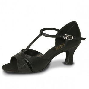 Roch Valley Priscilla Ladies Ballroom PU Shoe with T-Bar Straps 2 inch Flared Heel