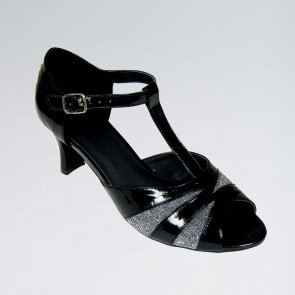 Katie Ballroom Black Patent PU Shoe with Lamé Inserts