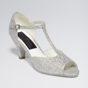 Chloe Glittering Silver and White Multi Hologram Ballroom Shoe Cuban Heel 2.5