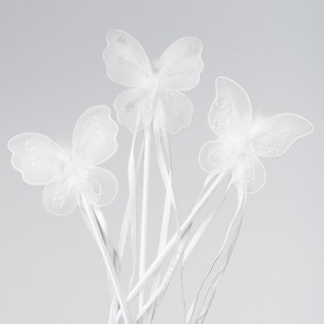 White Butterfly Wand (Assorted Designs)