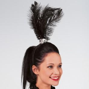 Feather Plume Headband Black