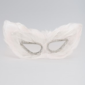 Simple Feather Eye Mask White