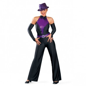 Black Purple Bow Tie Jazzsuit