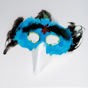 Turquoise Feather Bird/beak Mask